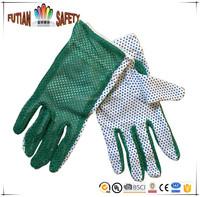 FTSAFETY women cotton gardening working gloves double layer with PVC dotted palm