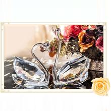 Promoción calidad superior K9 Crystal par cisnes para boda y Valentine Gift