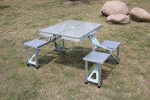 Suitcase aluminum folding picnic table with 4 seats,outdoor furniture
