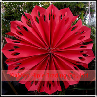 """Hot sale 12"""" Red Pinwheel Paper Flower fans Birthday stage Hanging Decoration"""