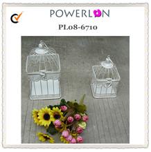 Antique decorative small white iron round metal bird cage