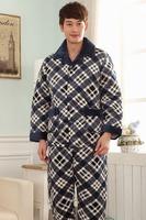 Flannel three layer thickening latest nighty designs plus size male nighty cotton men sleepwear