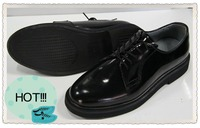 JR-0004 CE certificated glossy black genuine leather upper rubber outsole goodyear leather men shoes
