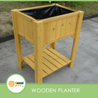 Two layers wooden garden flower pot