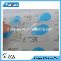 Custom high qualitly waterproof and permanent adhesive fabrics sticker