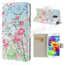 Flash Powder Stand Leather Cover Card Holder for Samsung Galaxy S5 G900 - Flowers and Plants
