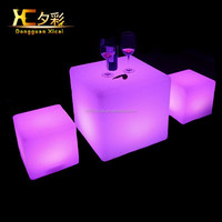 LED Cube Stool Color Changing Plastic Coffee Chair Table For Bar Night Club Home Ceremony Wedding Party