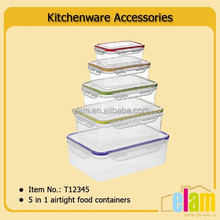 5 in 1 food storage plastic airtight plastic container set