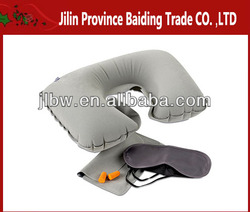New Neck Inflatable Airline Travel Set/Pillow/Ear Plug/Eye Shade Mask Sleep Set