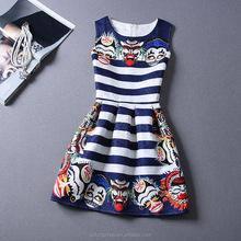 Fashion Elegant Lady Work Wear OL Flower Floral Print Dresses Women Sleeveless Mini Dress Party Evening Dress