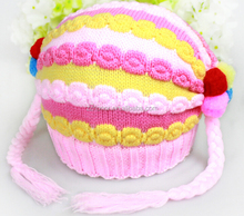 Lovely Candy color knitted hat, stereo stripe children knitted hats, baby hat with pigtail