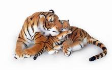 plush toys brown tiger mother with baby