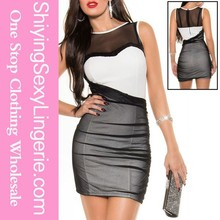 ww sexy image com Black White Mesh Sequined Bodycon Dress