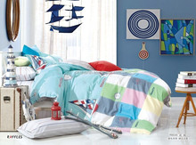 sailing and flying 100%cotton bedding set duvet cover fitted sheet for kids