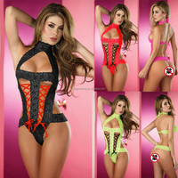 Cherryred Super Sexy Hollow Out Lace Halter One Piece Underwear for Women Wholesale