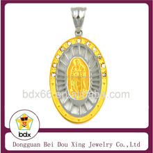 Hot Sell Two Tone Christians Our Lady Of Virgin De Guadalupe Stainless Steel Hollow Out Ocal CZ Pendant For Rosary Necklace