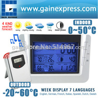 Indoor Outdoor Temperature RH% Thermometer Humidity RCC Digital Wireless Weather Forecast Station Calendar Clock with Backlight