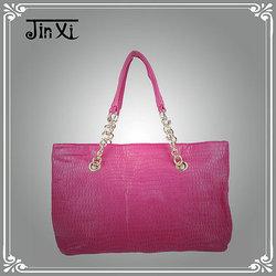 Fashionable women pink double chain strap shoulder bags