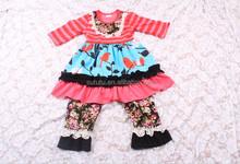 Wholesale Boutique Bird Printed Kids Clothing For Boutique Girls Outfits For Newborn Baby Fall Clothes