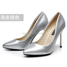 2015 new brand italian formal occasion pointed toe lady fashion black leather high heel shoe