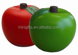 customized PU anti stress apple 6.8cm/promotional gifts PU foam apple shape stress ball/kids toys soft PU foam