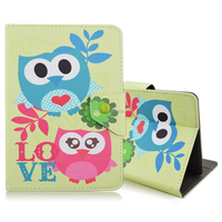 Cute OWL Print PU Leather Case Cover Stand for RCA 7 Inch Tablet
