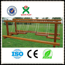Kindergarten wood playground swing bridge and single-plank bridge/kids playground equipment QX-078B