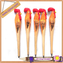 fancy writing pens,memory writing wood pen,big rooster shaped wood carved pen