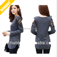 Sexy Personalized top quality womens harleys fashion tshirt with polo side and lace sleeve
