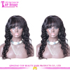 Top Quality Women Accessories Natural Black 100% Brazilian Human Hair Full Lace Wig with Bangs