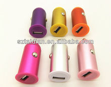 New Design Universal Metal Car Charger, Multi Colors 5V 2A Mini USB Adapter Car Charger For Ipad/Miui/HTC/Blackberry/ Tablet PC