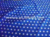 blue white polka dot polycotton knit fabric