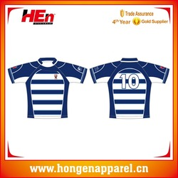 Hongen apparel Custom made sublimation printing tight England striped men's rugby jersey