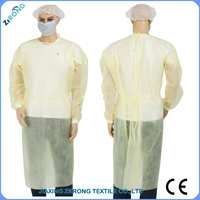 competive price polyropylene nonwoven latex free disposable yellow Isolation gown