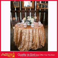 Sparkly Hand Embroidery Designs Linen Gold Sequin Tablecloth Wedding 48'' Round