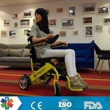 2015 hot sell lightest easy foldable power wheelchair with hub wheel and lithium battery