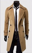 Mens fashion 2015 Winter casual men's Overcoat Wholesale unique slim outerwear long design double breasted suit wool coat