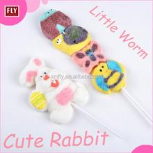 Halal cotton candy rabbit butterfly worm shape marshmallow lollipop