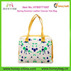 Perfect Ladies Spring Summer colorful Leather Canvas Tote Bag