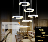 Modern European LED Crystal Chandelier C Shape Pendant Hanging Lamp Suspension Lighting Down Light Fixture LED006/700