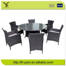 Excellent Steel Outdoor garden Rattan round table with glass(KD)