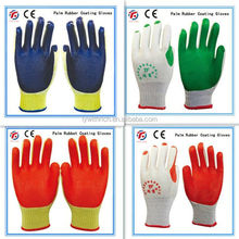 Cheap white cotton safety gloves EN388/rubber palm cotton hand gloves