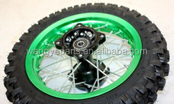 "Green 10"" Inch Front and Rear Alloy Wheel Rim Knobby Tyre Tire PIT PRO Trail Dirt Bike Parts"
