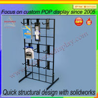 Floor standing rotating pegboard acrylic display stand for cell phone accessory