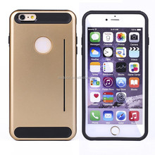 Alibaba China Card slot Stand Shockproof Slim armor PC TPU bumper back cover case for iPhone 6 PC TPU case