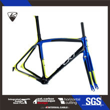 CKT 398 Yellow Blue Taiwan Carbon Road Bike Frame