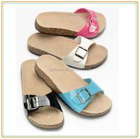 Women Ladies Flat Cork flip flops Buckle new design summer sandals shoes