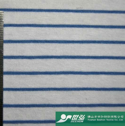 Azul y blanco de hilo teñido de tela / Okeo - prueba 100