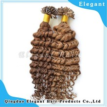 New fashion best quality 100% malaysian human hair keratine curly hair nail u tip fusion hair extension
