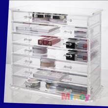 acrylic clear pen display stand Deluxe Diamond Handle Clear Acrylic Makeup Organizer with 7 Drawer
